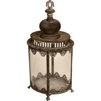 Lanterna Decorativa De Metal Envelhecido E Vidro Shanghai