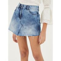Saia Jeans Evas㪠Com Recortes - Azulpop Up