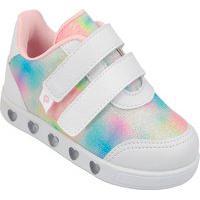 Tenis Infantil Luz Led Pampili Sneaker Colorido Menina Branco