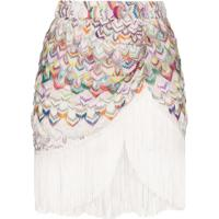 Missoni Fringed Crochet-Knit Mini Skirt - Branco