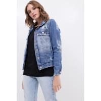 Jaqueta Em Jeans Com Pedrarias