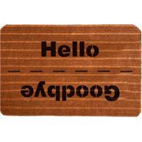 """Capacho Antiderrapante """"Hello/Goodbye""""- Marrom Claro & Mwevans"""