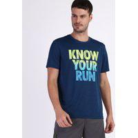 Camiseta Masculina Esportiva Ace Know Your Run Manga Curta Gola Careca Azul Marinho