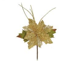 Flor Decoração Natal Flor C/Borda Glitter Dourado
