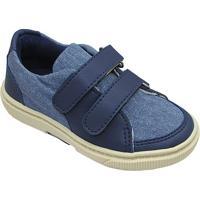 Tênis Jeans Com Recortes - Azul & Azul Marinho- Olioliver