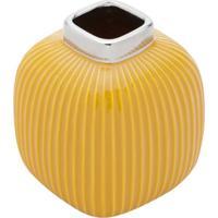 Vaso Decorativo Abóbora Amarelo 14X15 Cm