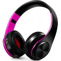 Fone De Ouvido Bluetooth Dobrável - Preto E Rosa