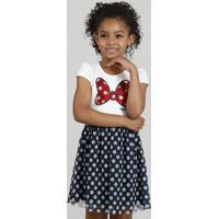 Vestido Infantil Minnie Com Paetês Dupla Face E Tule Estampado De Poá Off White