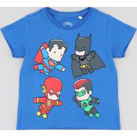 bffff5fad CEA  Camiseta Infantil Liga Da Justiça Manga Curta Gola Careca Azul