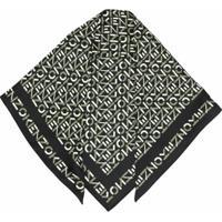 Kenzo Lenço De Seda Com Estampa De Logo - Preto