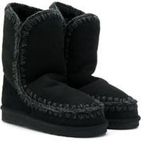 Mou Kids Teen Knitted Trim Eskimo Boots - Preto