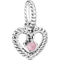Charm Pendente Coração Esferas Pink - Mês De Outubro