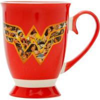 Caneca Em Cerâmica Mulher Maravilha Movie Logo Vermelha 330 Ml