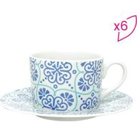 Jogo De Xícaras Para Chá Lisboa - Branco & Azul - 6Projemac