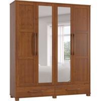 Guarda-Roupa Casal Com Espelho Perola 4Pt 2Gv 2109T Imbuia