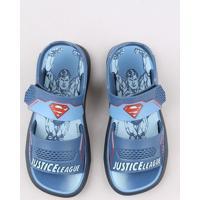 Sandália Papete Infantil Grendene Super Homem Azul Marinho