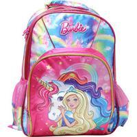 Mochila Escolar Infantil Luxcel Barbie Com Acessório - Feminino-Azul