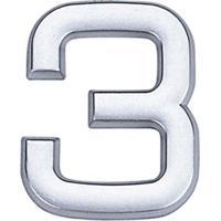 Número 3 De Abs Auto-Adesivo 3,9Cm Cromado Bemfixa