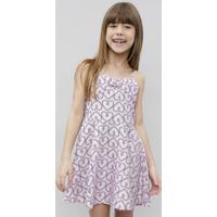 Vestido Infantil Estampado De Corações Com Nó Alça Fina Rosa