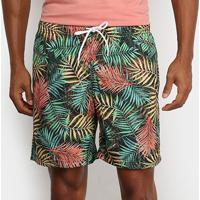 Shorts Mash Estampado Floral Color Masculino - Masculino-Preto