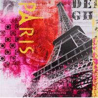 Quadro Eiffel Vermelho E Rosa Fullway 50X50