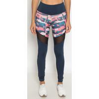 Legging Com Recortes Em Tule- Azul Marinho & Rosa- Pphysical Fitness