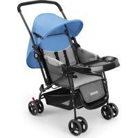 Carrinho De Bebê Berço Com Bandeja Nap Weego Azul4012
