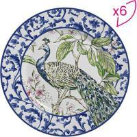 Conjunto De Pratos Para Sobremesa Pavão- Branco & Azul Escalla Cerâmica