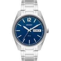 Relógio Orient Masculino Mbss2025 D2Sx Pulseira E Caixa Aço Prateado Mostrador Azul