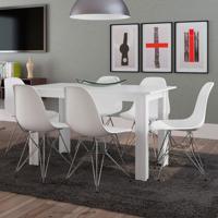 Conjunto De Mesa Cogma Com 6 Cadeiras Eames Base Metal Branco
