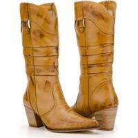 Bota Texana Capelli Boots Country Couros Recortes E Fivela Feminina - Feminino-Marrom Claro
