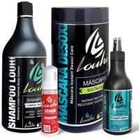 Kit Cauterização Shampoo 1L+ Queratina 300Ml + Sérum 100Ml + Máscara 1L Louhi - Unissex-Incolor