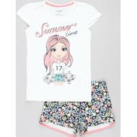 """Conjunto Infantil De Blusa """"Summer Time"""" Manga Curta Off White + Short Estampado Floral Azul Marinho"""