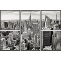 Kit De Quadros New York- Preto & Cinza- 5Pã§S- Kakapos