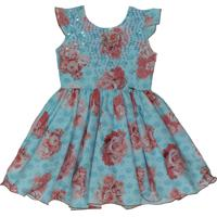 Vestido Katitus Estampa De Flores/Coroa Azul