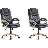 Conjunto Com 2 Cadeiras De Escritório Giratórias Clark Preto