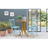 Mesa De Restaurante Com 2 Cadeiras Quadrada Juliette - Amêndoa E Azul Bebê