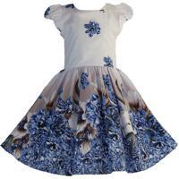 Vestido Katitus Juvenil Florido Azul