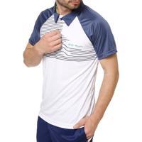 Polo Esportiva Manga Curta Masculina Local Branco/Azul