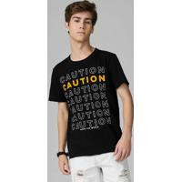 Camiseta Juvenil Meia Malha Preto