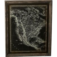 Quadro Decorativo Vintage De Parede Mapa Com Moldura