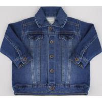 Jaqueta Jeans Infantil Em Moletom Azul Escuro