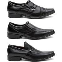 Kit 3 Pares Sapato Social Hshoes Couro Conforto Elegante Masculino - Masculino-Preto