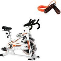 Bike Spinning Oneal Tp1100 Semi Profissional + Corda De Pular Com Peso E Rolamento Liveup - Unissex