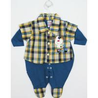 Macacão L.Baby Longo Jeans E Xadrez - Masculino