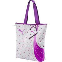 Bolsa Puma Fundamentals Shopper Feminina - Feminino-Cinza+Roxo