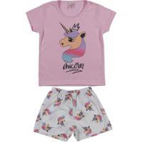 Pijama Curto Infantil Para Menina - Rosa/Off White