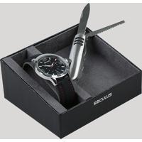 Kit De Relógio Analógico Seculus Masculino + Canivete - 23613G0Svni1K Prateado - Único