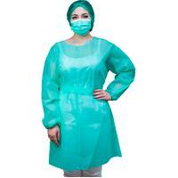 Avental Descartável Verde Agua Manga Longa Protect Premium Tnt 40G Pct 05 Und