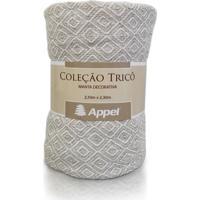 Manta Appel Tricô Decorativa P/ Cama E Sofá Caqui Cru